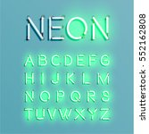 neon character set shining ... | Shutterstock .eps vector #552162808