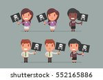 people holding signs vector... | Shutterstock .eps vector #552165886