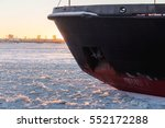 icebreaker in the river ice....   Shutterstock . vector #552172288