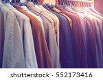 selective focus winter coats... | Shutterstock . vector #552173416