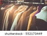 selective focus winter coats... | Shutterstock . vector #552173449