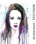 fashion watercolor portrait | Shutterstock . vector #552176608