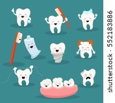 cute tooth character set with... | Shutterstock .eps vector #552183886