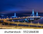 Saint-Petersburg, Russia - December 28, 2016: Cable-stayed bridge across the Petrovsky waterway as part of the Western High-Speed Diameter of St. Petersburg, illumination at night. - stock photo