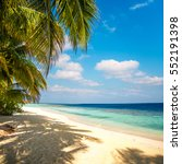 sandy beach in the maldives on... | Shutterstock . vector #552191398
