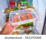 raw salmon steak in the open...   Shutterstock . vector #552193300