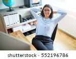 calm single young woman leaning ... | Shutterstock . vector #552196786