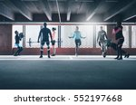 group of young sporting adults... | Shutterstock . vector #552197668