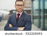 single serious handsome bearded ... | Shutterstock . vector #552205093