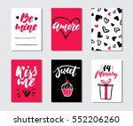 valentines day gift card vector ... | Shutterstock .eps vector #552206260