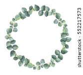 watercolor round wreath with... | Shutterstock . vector #552217573