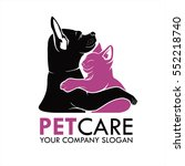 Stock vector dog and cat illustration icon for your pet shop business logo 552218740