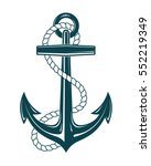 nautical anchor with rope.... | Shutterstock .eps vector #552219349