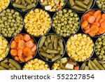 group of open canned vegetables ... | Shutterstock . vector #552227854