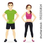 young man and woman in sports... | Shutterstock .eps vector #552231814