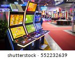 Sofia, Bulgaria - November 24, 2016: A slot machine is seen in a casino equipment exhibition in Inter Expo Center. - stock photo