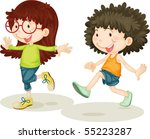 illustration of a girl and boy... | Shutterstock . vector #55223287