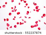 Stock photo red roses petals on white background for layout valentine concept 552237874