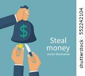 steal money concept. bag of... | Shutterstock .eps vector #552242104