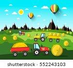harvesting vector landscape... | Shutterstock .eps vector #552243103