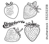 vector strawberry set. black... | Shutterstock .eps vector #552252358