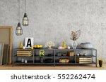 mock up wall in interior. wall... | Shutterstock . vector #552262474