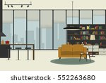 apartment inside in flat style. ... | Shutterstock .eps vector #552263680