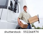 delivery boy standing next to a ... | Shutterstock . vector #552266974