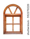 wooden arched window isolated...