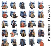 truck driver collage on white... | Shutterstock . vector #552270784