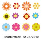 colorful flowers vector set | Shutterstock .eps vector #552279340