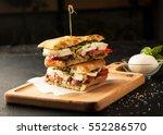 delicious sandwich with chicken ... | Shutterstock . vector #552286570