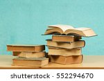 open book  stack of hardback... | Shutterstock . vector #552294670