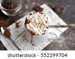 hot chocolate with whipped cream | Shutterstock . vector #552299704