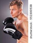 portrait of handsome muscular... | Shutterstock . vector #552300538