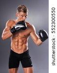 portrait of handsome muscular... | Shutterstock . vector #552300550