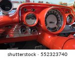 Retro Car Dashboard With Gauges