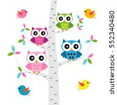 vector set of a colorful owls... | Shutterstock .eps vector #552340480