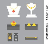 set of jewelry items. gold and... | Shutterstock .eps vector #552347134