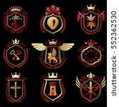 set of vector vintage emblems... | Shutterstock .eps vector #552362530
