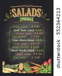 salads menu list chalkboard... | Shutterstock .eps vector #552364213