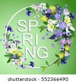 card spring primroses in spring ... | Shutterstock .eps vector #552366490
