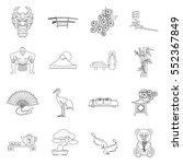 japan set icons in outline... | Shutterstock .eps vector #552367849