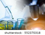 microscope with lab glassware ... | Shutterstock . vector #552370318