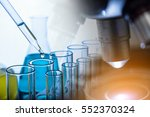 microscope with lab glassware ... | Shutterstock . vector #552370324