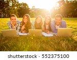 five happy joyful boyfriends... | Shutterstock . vector #552375100