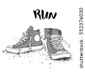 hand drawn sneakers on white... | Shutterstock .eps vector #552376030