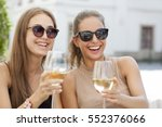portrait of two young brunettes ... | Shutterstock . vector #552376066