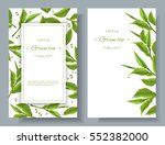 Stock vector vector green tea banners with tea leaves and drops on white design for packaging tea shop drink 552382000