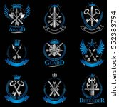 vintage weapon emblems set.... | Shutterstock .eps vector #552383794